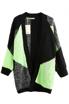 Green Trendy Ladies Colors Patchwork Sweater Coat