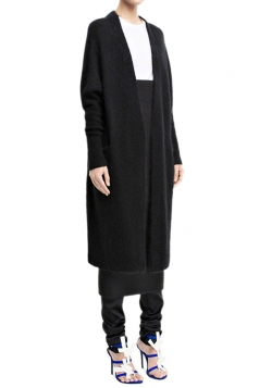 Black Pretty Womens Wool Knitted Long Sweater Coat