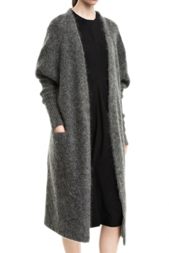 Gray Pretty Womens Wool Knitted Long Sweater Coat