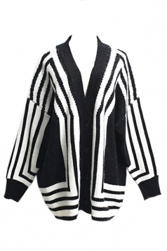 Black Trendy Womens Thick Zebra Long Sweater Coat