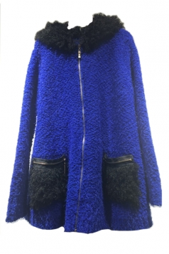 Blue Fashion Womens Faux Fur Flocking Hoodie Sweater Coat