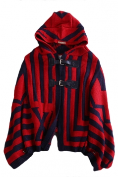 Red Charming Ladies Batwing Sleeve Stripe Cloak Sweater Coat