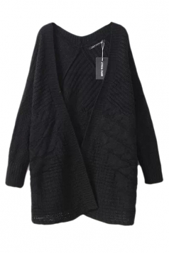 Black Pretty Womens Casual Cable Knitted Plain Cardigan Sweater