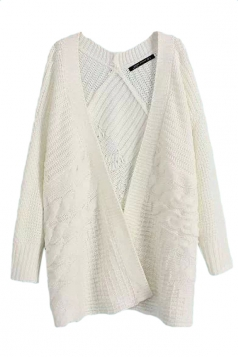 White Pretty Womens Casual Cable Knitted Plain Cardigan Sweater