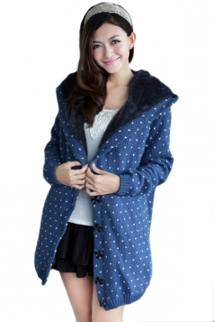 Blue Trendy Womens Thick Lined Polka Dot Sweater Coat