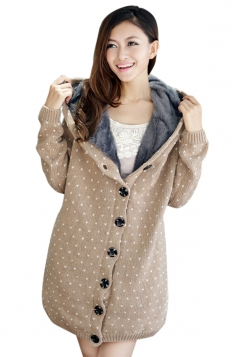 Khaki Trendy Womens Thick Lined Polka Dot Sweater Coat