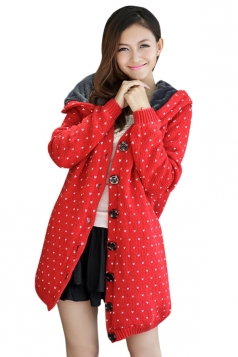 Red Trendy Womens Thick Lined Polka Dot Sweater Coat