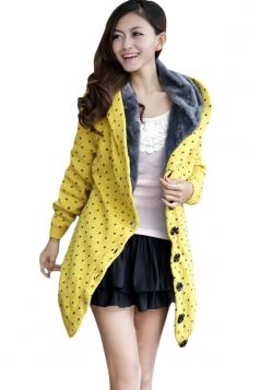 Yellow Trendy Womens Thick Lined Polka Dot Sweater Coat