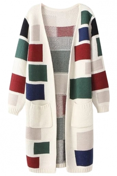Beige White Ladies Colors Patchwork Patterned Cardigan Sweater