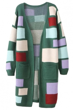 Green Ladies Colors Patchwork Patterned Cardigan Sweater