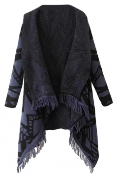Navy Blue Chic Ladies Argyle Tassel Loose Sweater Coat