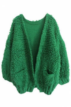 Green Pretty Womens Batwing Thick Plain Cardigan Sweater