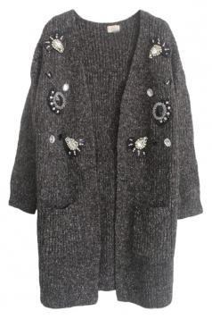 Gray Pretty Ladies Rhinestone Patterned Cardigan Sweater