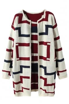White Fashion Ladies Maze Patterned Long Cardigan Sweater