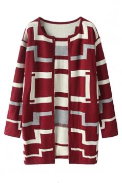 Ruby Fashion Ladies Maze Patterned Long Cardigan Sweater