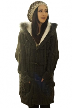 Black Chic Ladies Fur Ball Hooded Toggle Long Plain Sweater Coat