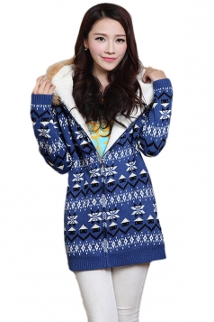 Blue Hooded Lined Snowflake Christmas Cardigan Sweater Coat