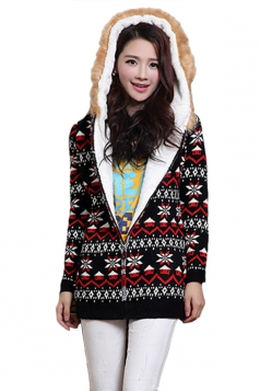 Black Hooded Lined Snowflake Christmas Cardigan Sweater Coat