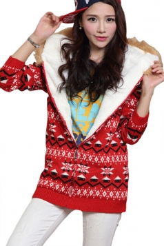 Red Hooded Lined Snowflake Christmas Cardigan Sweater Coat
