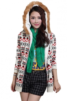 White Hooded Lined Snowflake Christmas Cardigan Sweater Coat