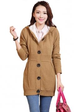 Khaki Pretty Ladies Hooded Plain Winter Lined Warm Sweater Coat