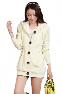 White Pretty Ladies Hooded Plain Winter Lined Warm Sweater Coat