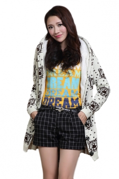 White Cute Womens Hooded Tiger Pattern Lined Long Sweater Coat