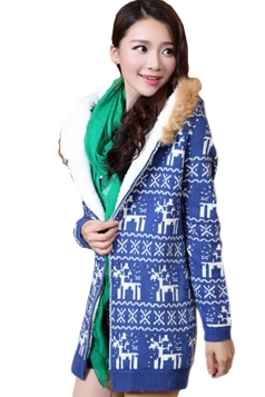 Blue Stylish Ladies Hooded Reindeer Ugly Christmas Sweater Coat