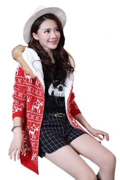 Red Stylish Ladies Hooded Reindeer Ugly Christmas Sweater Coat