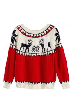 White Ladies Pullover Crew Neck Reindeer Ugly Christmas Sweater