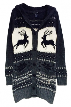 Gray Elegant Womens Hooded Reindeer Ugly Christmas Sweater Coat