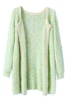 Green Elegant Ladies Plain Mohair Patterned Cardigan Sweater