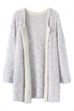 Gray Elegant Ladies Plain Mohair Patterned Cardigan Sweater