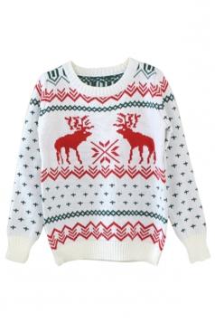 Beige Ladies Crew Neck Reindeer Pullover Ugly Christmas Sweater