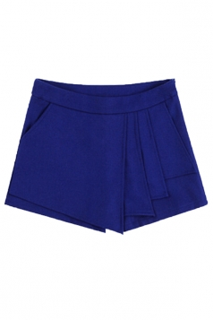 Blue Retro Womens Sexy Ruffle Tweed Thick Mini Shorts