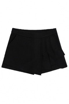 Black Retro Womens Sexy Ruffle Tweed Thick Mini Shorts