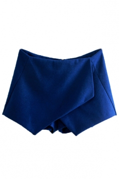 Blue Ladies Irregularly Tweed Thick Vintage Mini Shorts