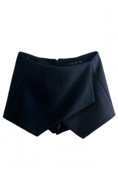 Navy Blue Ladies Irregularly Tweed Thick Vintage Mini Shorts