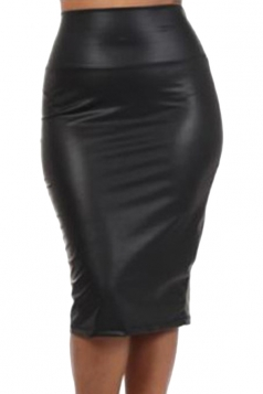 Black Trendy Womens Leather High Waist Mini Skirt