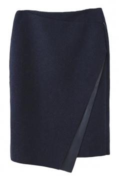 Navy Blue Tweed Irregularly Zipper Fashion Pencil Skirt