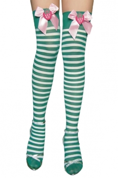 Green Cute Womens Bow Stripe Stockings Christmas Accessory