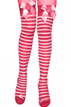 Red Cute Womens Bow Stripe Stockings Christmas Accessory