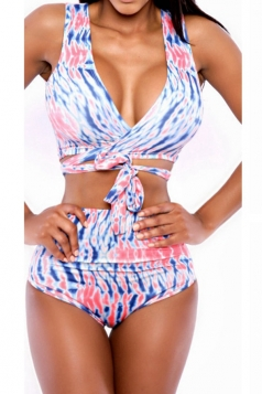Blue Chic Wrap Bikini Top & High Waisted Sexy Swimwear Bottom
