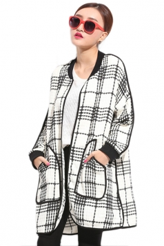 White Womens Plaid Color Block Crew Neck Cardigan Sweater Coat