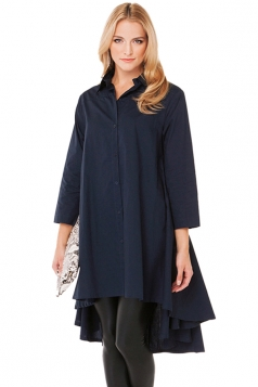 Navy Blue Fashion Ladies Plain Ruffle High Low Shirtcoat