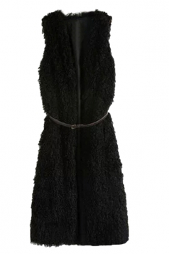 Black Charming Ladies Faux Fur Warm Winter Sleeveless Vest