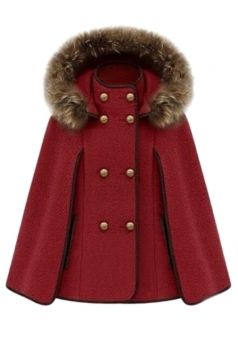Red Ladies Cute Warm Winter Tweed Poncho Hooded Pea Coat