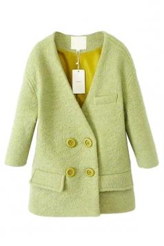 Green Loose V Neck Fashion Ladies Pea Long Tweed Coat