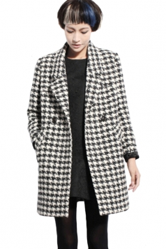 Black Lapel Fashion Womens Houndstooth Loose Wool Coat