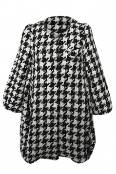 Black Fashion Houndstooth Ladies Cute Puff Sleeve Over Coat